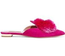 Powder Puff Pompom-embellished Suede Slippers