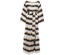 Belted Striped Voile And Satin Maxi Dress