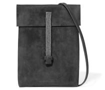 Stud-embellished Suede Shoulder Bag Dunkelgrau