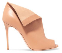 Folded textured-leather pumps