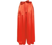 Tie-front Pleated Hammered Silk-satin Culottes