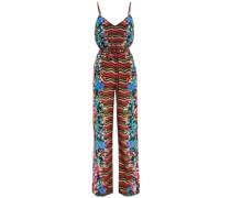 Loretta Belted Printed Silk Crepe De Chine Wide-leg Jumpsuit