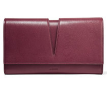 Cutout Textured-leather Clutch Burgunder