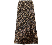 Alie Ruffled Fil Coupé Silk-blend Midi Skirt