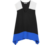 To The Max Color-block Silk And Stretch-jersey Top Schwarz