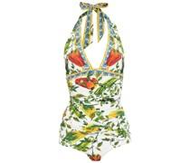 Geraffter Neckholder-badeanzug mit Print