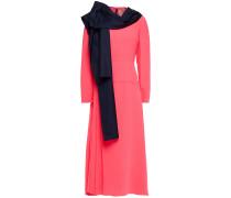 Marira Tie-neck Satin-twill And Stretch-crepe Midi Dress