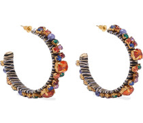 22-karat Gold-plated, Crystal, Bead And Cord Hoop Earrings