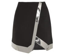 Mirrored Faux Leather-trimmed Wool-crepe Mini Skirt Schwarz