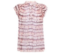 Clea Ruffle-trimmed Tie-dyed Silk-georgette Top