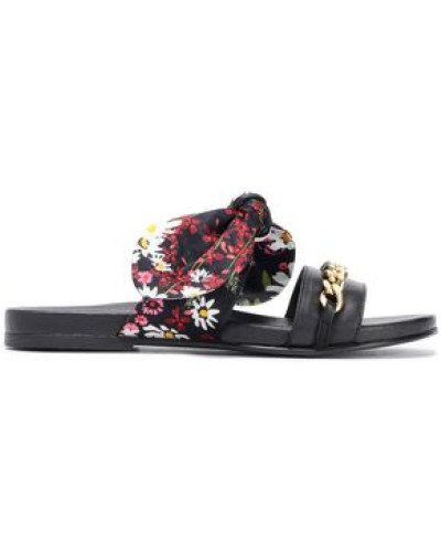 Floral-printed Embellished Twill And Leather Slides Black