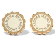 Scalloped Gold-tone Enamel Earrings Creme