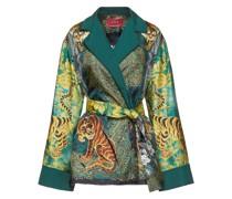 Giocasta Belted Printed Silk-satin Jacket