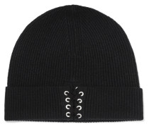 Lace-up Ribbed Cashmere Beanie Schwarz