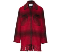 Fringed checked flannel coat