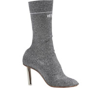 Metallic Knitted Ankle Boots Silver
