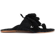 Tasseled Braided Suede Sandals
