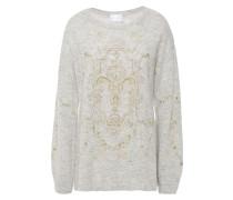 Crystal-embellished Printed Brushed Alpaca-blend Sweater