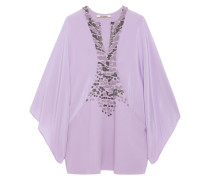 Bead-embellished Crepe And Crepe De Chine Top