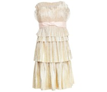 Strapless Tiered Belted Metallic Tulle Mini Dress