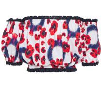 Off-the-shoulder Floral-print Stretch-cotton Poplin Top