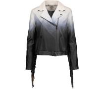 Fringed Degradé Leather Biker Jacket Grau