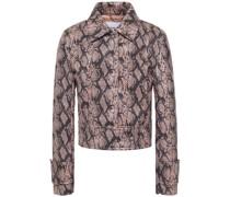 Erin Faux Snake-effect Leather Jacket
