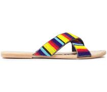Bead-embellished Leather Slides