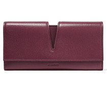 Cutout Textured-leather Wallet Burgunder