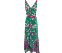 Wrap-effect Cutout Floral-print Crepe De Chine Midi Dress