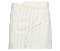Pinstriped Wool-blend Mini Skirt Creme