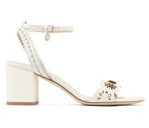 Marguerite Embellished Perforated Leather Sandals Elfenbein