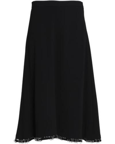 Ring-embellished Crepe Midi Skirt Black