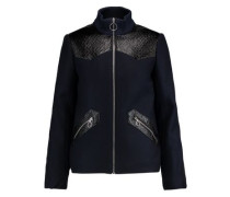 Faux textured leather-paneled wool-blend jacket