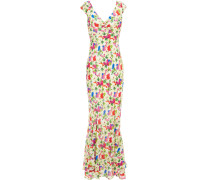 Daphne Fluted Floral-print Silk Crepe De Chine Maxi Dress