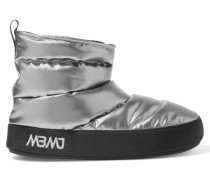 Metallic Quilted Shell Boots Silber
