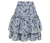 Aine Tiered Floral-print Matelassé Mini Skirt