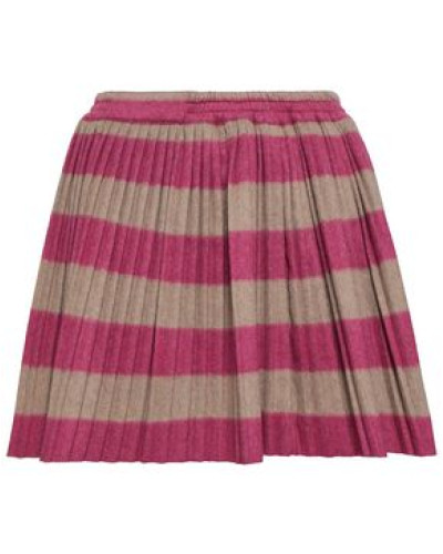 Woman Pleated Striped Wool-blend Mini Skirt Taupe