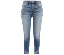 Woman The Turnt Stiletto Cropped Spiked Mid-rise Skinny Jeans Mid Denim