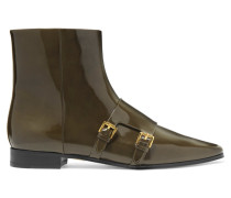 Laura Buckled Patent-leather Ankle Boots Armeegrün