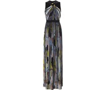 Pleated Printed Georgette And Silk Crepe De Chine Maxi Dress