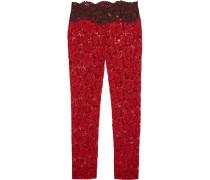 Cotton-blend Lace Slim-leg Pants Rot