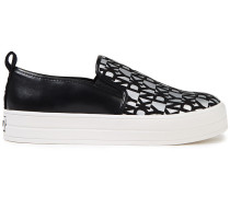 Woman Printed Faux-suede And Leather Slip-on Sneakers Silver