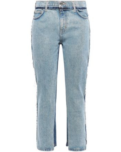 Frayed Two-tone High-rise Straight-leg Jeans Mid Denim  4