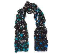 Frayed printed modal scarf