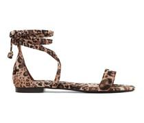 + Johanna Ortiz Nellie Sandalen aus Glänzendem Twill mit Leopardenprint