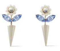 Goldfarbene Ohrringe mit Kristallen und Kunstperlen