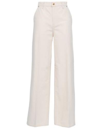 Caroline Cotton-canvas Wide-leg Pants Ivory  9
