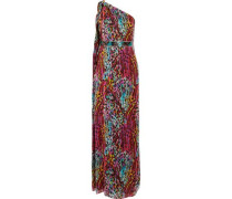 One-shoulder printed silk gown
