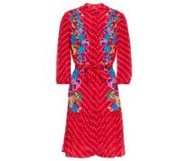 Tyra Bedrucktes Minikleid aus Crêpe De Chine aus Seide mit Gürtel